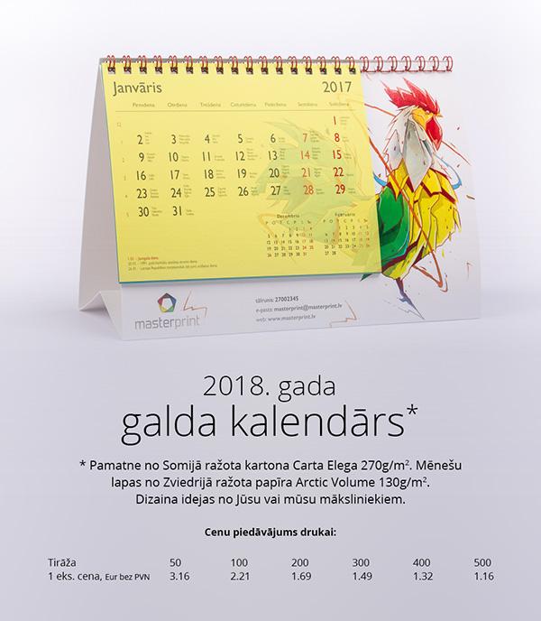 galda kalendari druka cenas